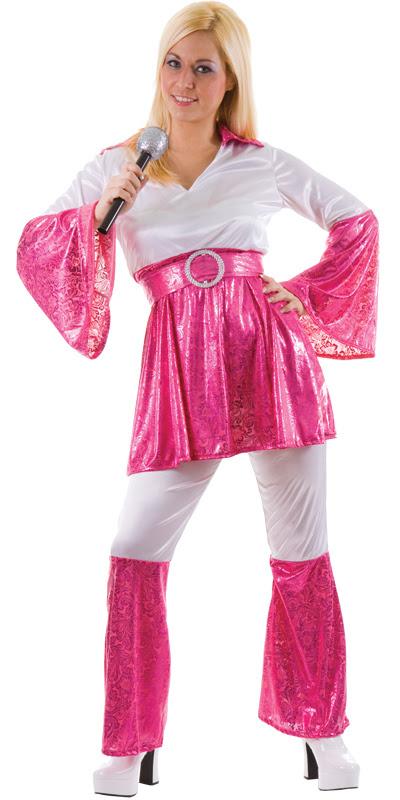 mamma mia 70s abba ladies fancy dress costume pink  ebay