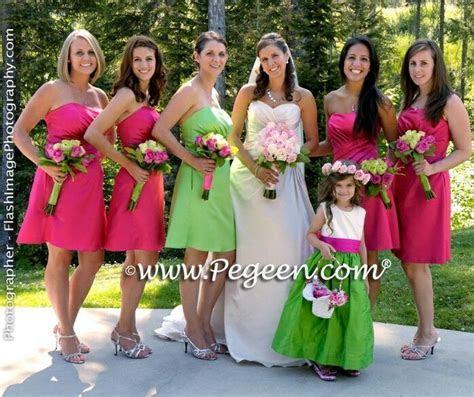 Lime Green and hot pink Bridesmaid dress   Bridesmaid