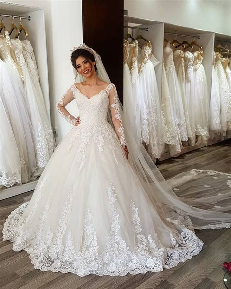 Arabic Long Sleeves Wedding Dress , 2017 New Design Bridal