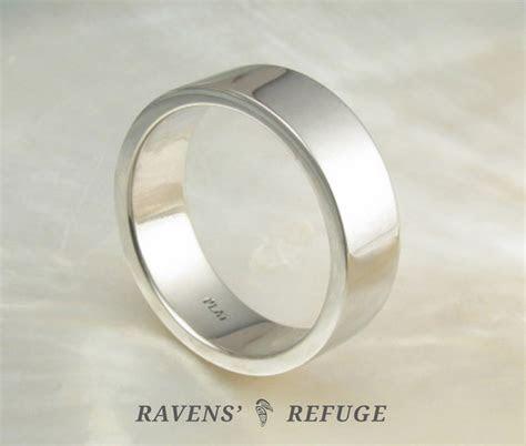 simple 7mm platinum wedding band   flat men's ring