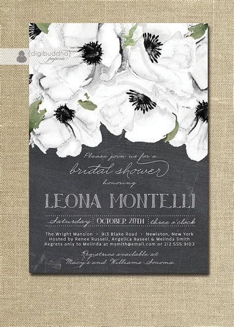 Chalkboard Floral Bridal Shower Invitation Black & White