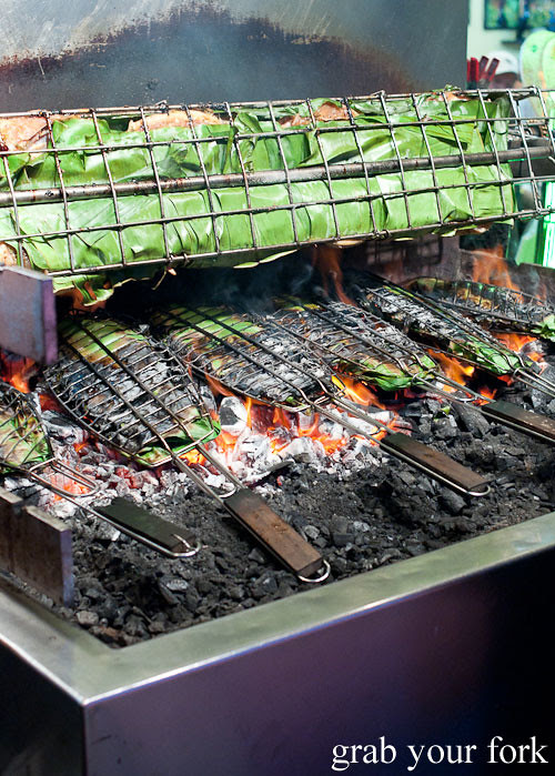 Charcoal barbecue banana leaf fish and chicken at Hai Au Lang Nuong Canley Vale