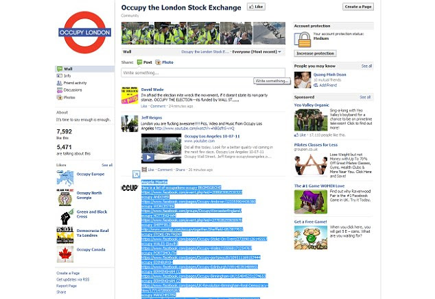Popular: More than 13,000 signed up to Occupy London's Facebook page