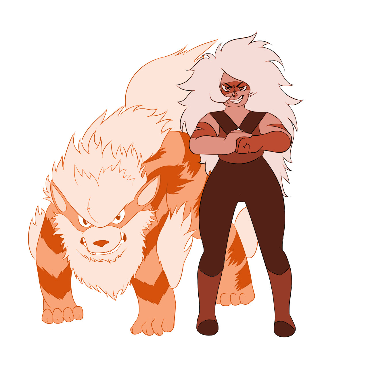 """Together, we'll be unstoppable!"" Another Pokeverse sketch, this time with Jasper and Arcanine! I mean just LOOK at Arcanine, it looks exactly like Jasper!! These two are clearly made for each..."