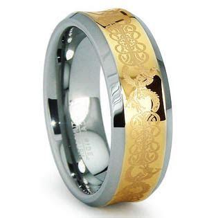 Titanium Kay Concave Gold Inlay Celtic Tungsten Carbide