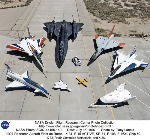 Research Aircraft - X-31, F-15 ACTIVE, SR-71, F-106, F-16XL Ship #2, X-38, Radio Controlled Mothership, and X-36. by aeroman3