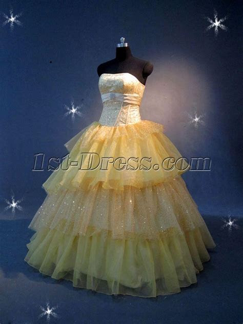 Yellow Tulle 15 Quinceanera Dresses IMG 2189:1st dress.com