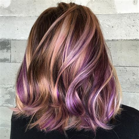 versatile ideas  purple highlights  blonde brown