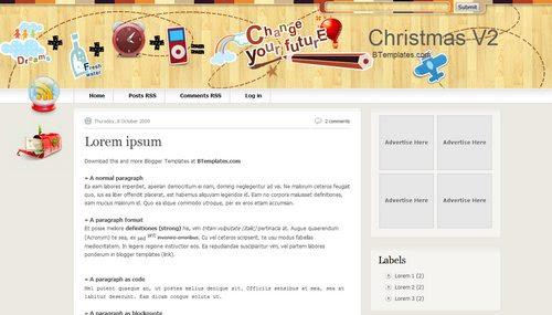 """Christmas V2"" Funny Blog Template Free + Cool Design"