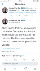 Foto: Tweet di padre James Martin