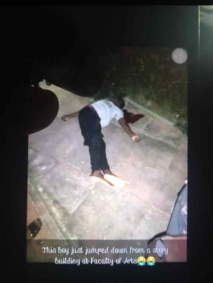 OMG!! University Of Benin Student Jumps From Last Floor, Dies Instantly (Graphic Photo)