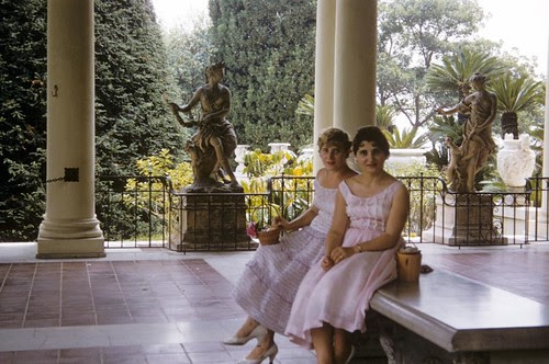 My mom and my aunt visiting Huntington Gardens in Los Angeles. 1956