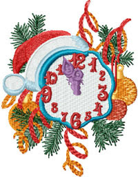 Free Christmas Clock Embroidery Design