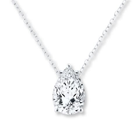 Diamond Solitaire Necklace 1/2 carat Pear Shaped 14K White
