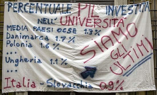 Torinó, tiltakozó molinó az egyetemen