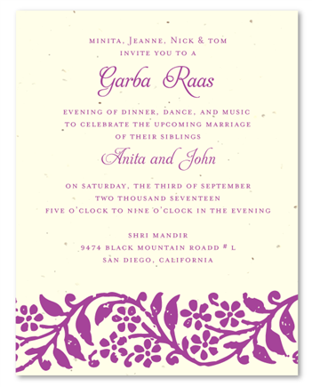 Raas Garba cream seeded paper invites