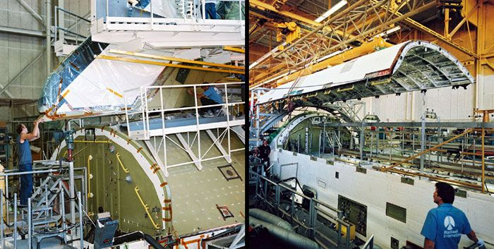 Construction photos of space shuttle Endeavour.