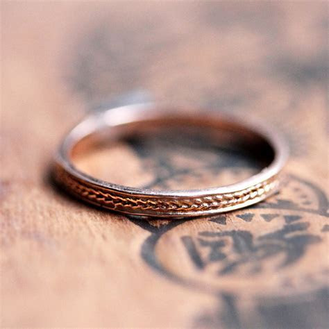 Braided rose gold ring Rose gold wedding band thin by