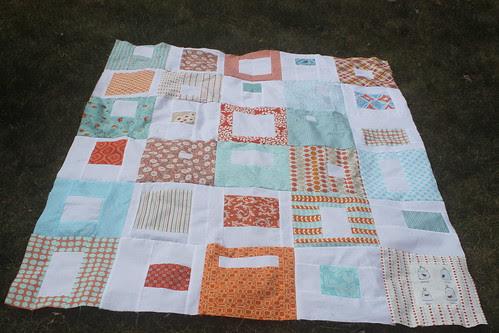 Orange & Aqua Quilt Top