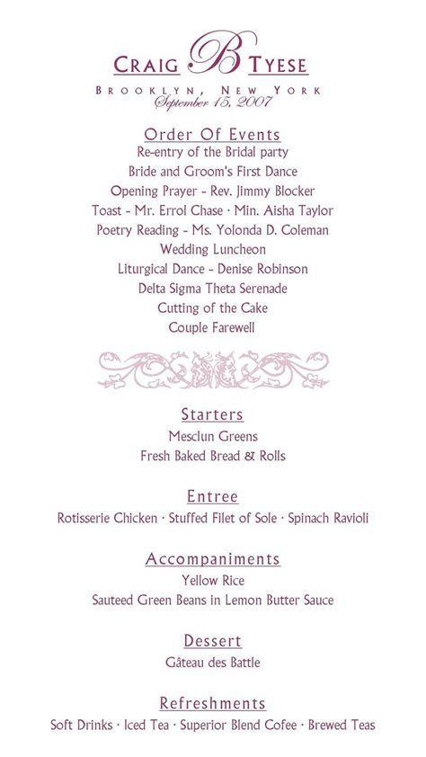 sample reception program   Wedding Bells   Wedding