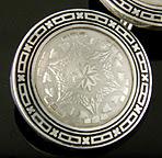Wordely, Allsopp & Bliss white gold and black enamel cufflinks. (J9045)