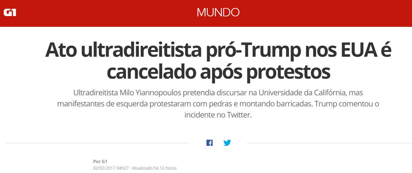 """G1 chama palestra de Milo Yiannapoulos de ato """"ultradireitista"""" pró-Trump."""