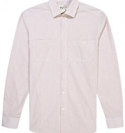 Reiss Oldtimer Long Sleeve Seersucker Shirt Rust