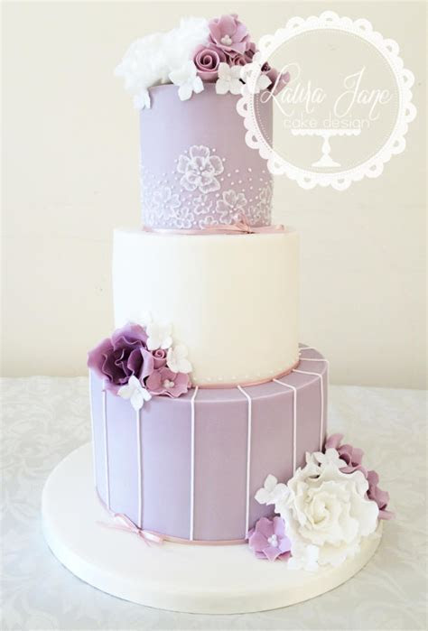 Lilac and ivory wedding cake   cake by Laura Davis