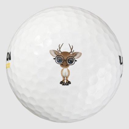 Nerdy Baby Deer Wearing Glasses Golf Balls