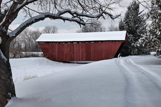 A covered bridge in the winter time after a fresh morning snow found in central Ohio. Picture Height: 3744 pixels | Picture Width: 5616 pixels | Lens Aperture: f/13.5 | Image Exposure Time: 1/60 sec | Lens Focal Length mm: 47 mm | Photo Exposure Value: 0 EV | Camera Model: Canon EOS 5D Mark II | Photo White Balance: 0 | Color Space: sRGB | ForestWander Nature Photography: ForestWander Nature Photography | ForestWander: ForestWander.com |