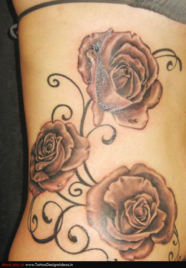 Grey Rose Tattoo On Girl Side Rib
