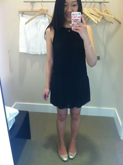 LOFT eyelet bodic sleeveless dress, 00P