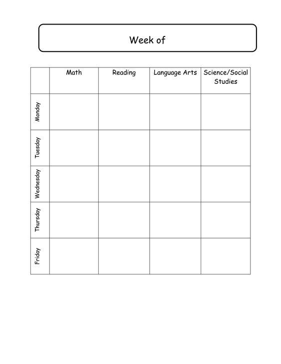 Elementary School Daily Schedule Template | Weekly lesson plans ...