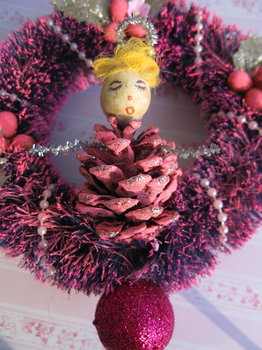 Pink Pinecone Doll Ornament!
