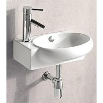 Elanti Porcelain White Wall-Mounted Oval 17 x 11 Right-Facing Sink ...