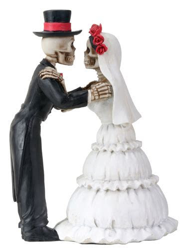 Day of the Dead Skeleton Couple Clutching Arms Wedding