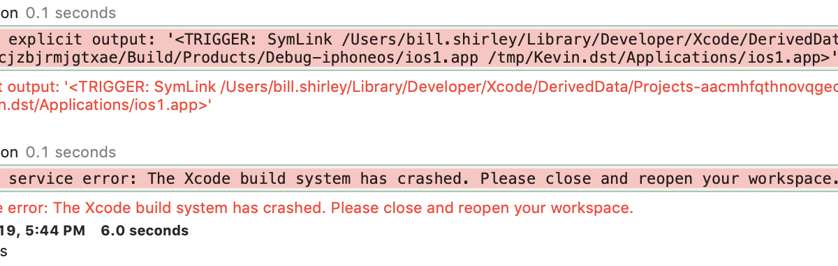 Xcode build system crashingXcode 5 - -bundle_loader can only