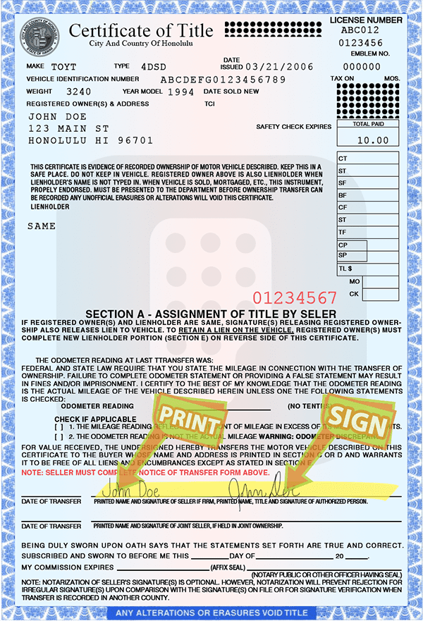 Motor Vehicle Replacement Title