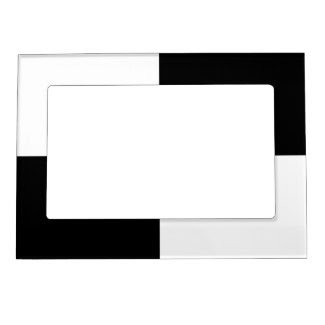 Black and White Rectangles Picture Frame Magnet