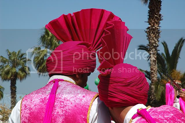 Punjabi Turbans and Oxfam at Moll de la Fusta, Barcelona