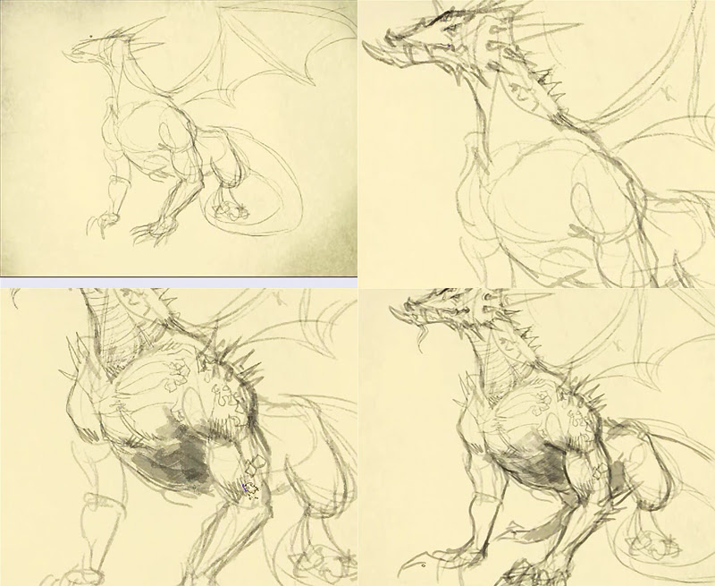 how to draw dragon step 2