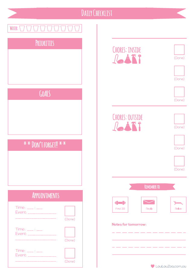 Printable Weekly Planner To Do List | Each day, Work goals and ...