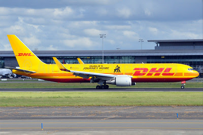 DHL Air (UK) Boeing 767-3JHF ER G-DHLH (msn 37806) (Djala's Journey Home-Gorillas in Transit-Aspinall Foundation) BRU (Karl Cornil). Image: 912699.