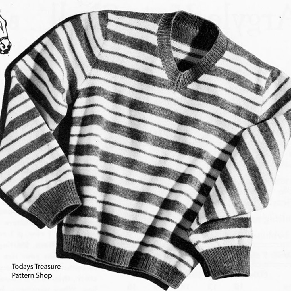 Boys Striped Sweater Knitting Pattern, Stable Boy