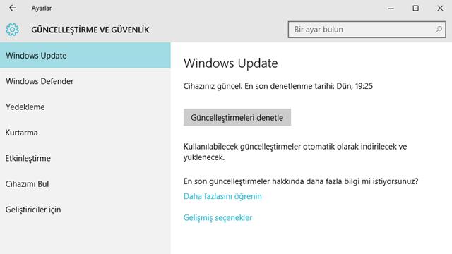 windows güncelleştirme denetle