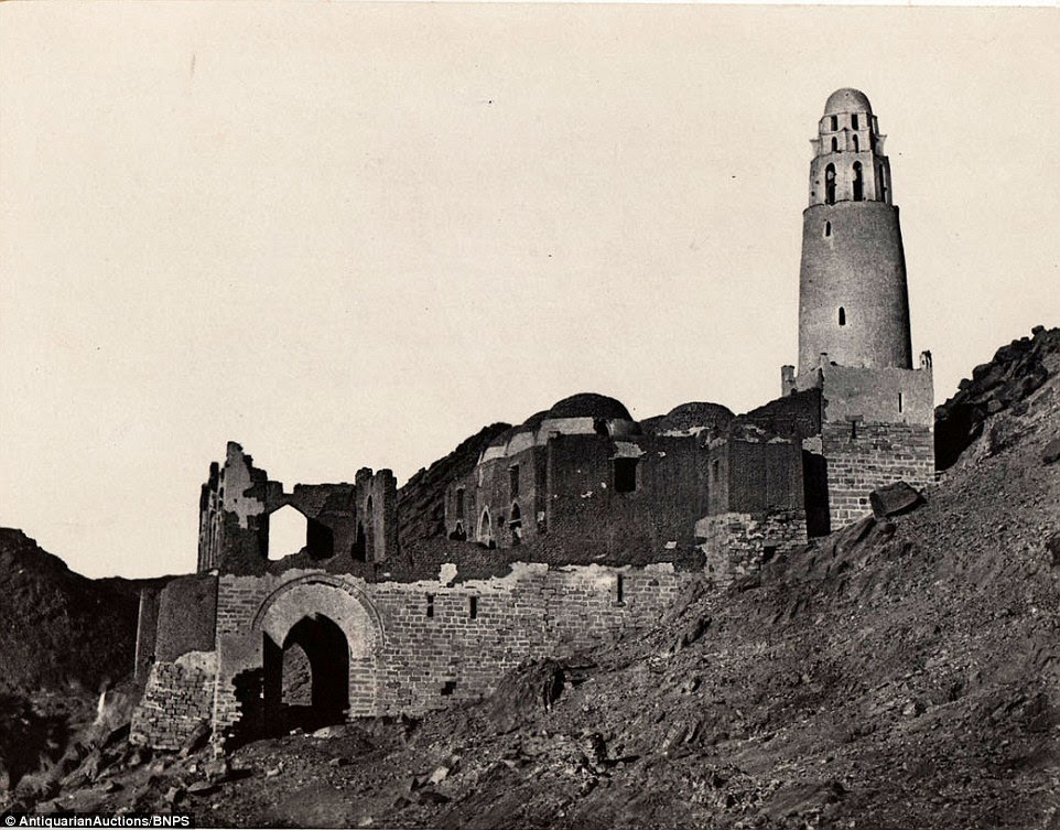 Mosque of Bellal at Philae was pictured during the government-backed expedition, on which Du Camp and companion Gustave Flaubert had dangerous encounters with locals and took exotic drugs