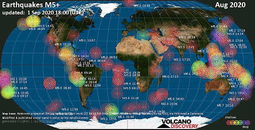 Avatar of World Earthquake Report for August 2020
