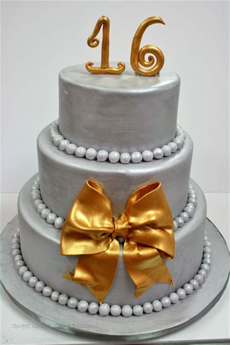 Sweet 16 Cakes NJ   Silver and Gold Custom Cakes