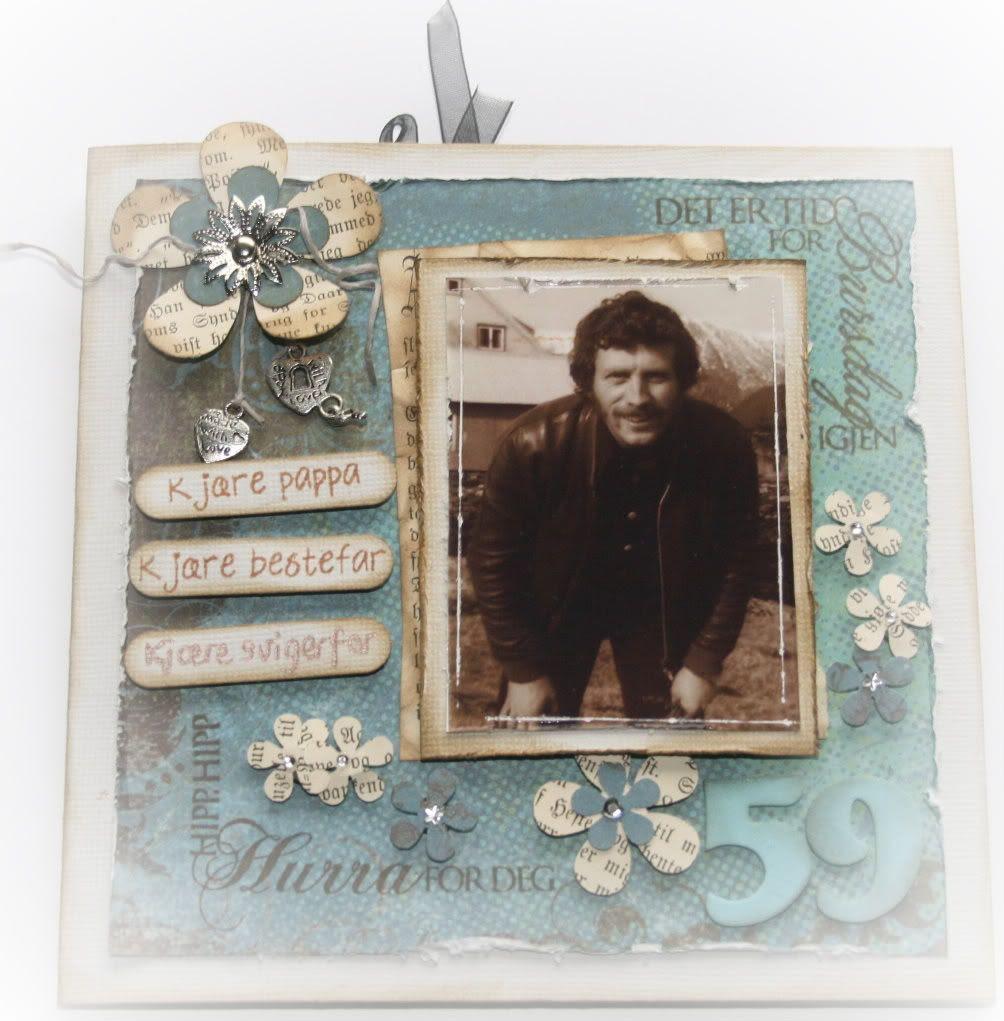 Fremsiden av kortet - bildet av pappa er fra 70-tallet, tatt i Bremanger