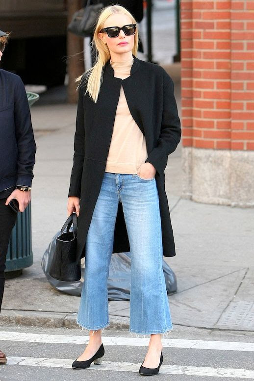 Le Fashion Blog Celebrity Style Kate Bosworth Sunglasses Black Coat Nude Mock Neck Top Small Tote Bag Cropped Flared Denim Short Block Heels Via Harpers Bazaar